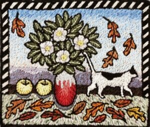"""Embroidered painting """"Fall Blooming Camellias"""" by fiber artist Laura Gaskin"""