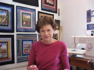 Fiber Artist laura Gaskin in her Fairview, NC studio